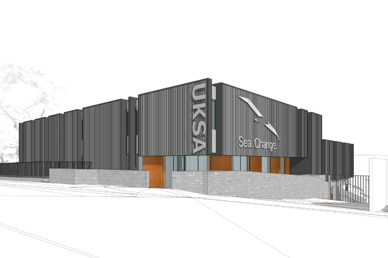 A front view of the capital build project at UKSA