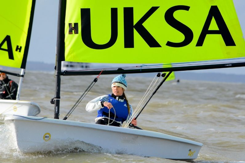 UKSA Ambassador Sarah Ayton racing a dinghy for the RYA