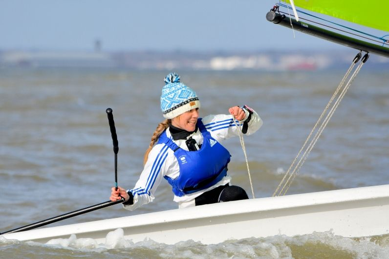 UKSA Ambassador Sarah Ayton in a dinghy
