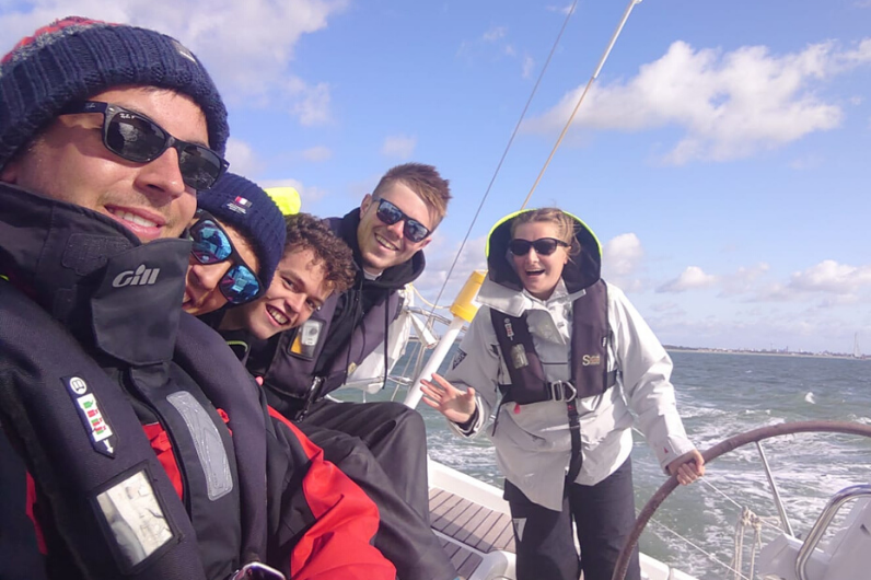 Katie Sewell with fellow students onboard a training yacht
